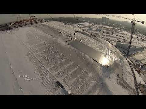 Последний слой покрытия на куполе стадиона Самара Арена #Samara #Russia