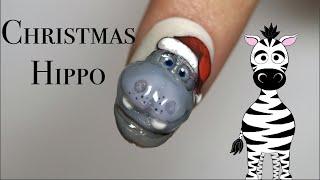 3D Christmas Hippopotamus Acrylic Nail Art Tutorial