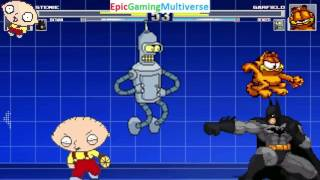 Stewie Griffin And Batman VS Garfield The Cat And Bender The Robot In A MUGEN Match / Battle / Fight