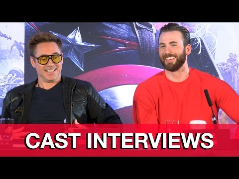 Avengers Age of Ultron Cast Interviews - Robert Downey Jr, Chris Evans, Scarlett Johansson