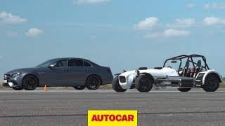 Drag race: Twin motorcycle-engined MK vs. AMG E63 S | Autocar