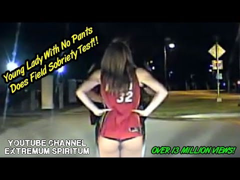 Young lady with NO PANTS Does Field Sobriety Test - Police Dash-cam viral video thumbnail
