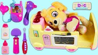 PAW PATROL Pup Skye Visits Doc McStuffins Toy Hospital Emergency Ambulance!