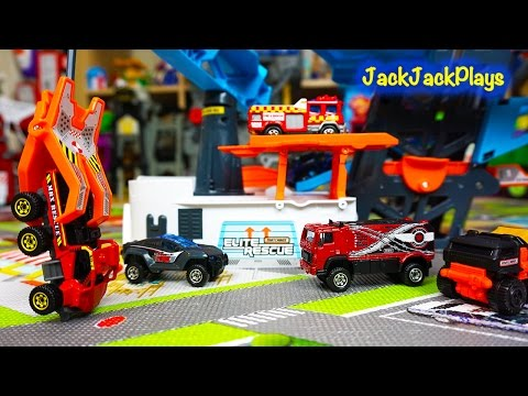 Matchbox Trucks Surprise Toy Unboxing and Playing: Rescue Headquarters Play Set Review -