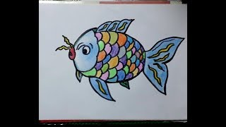 Easy colorful cute fish coloring and drawing for Kids, toddler