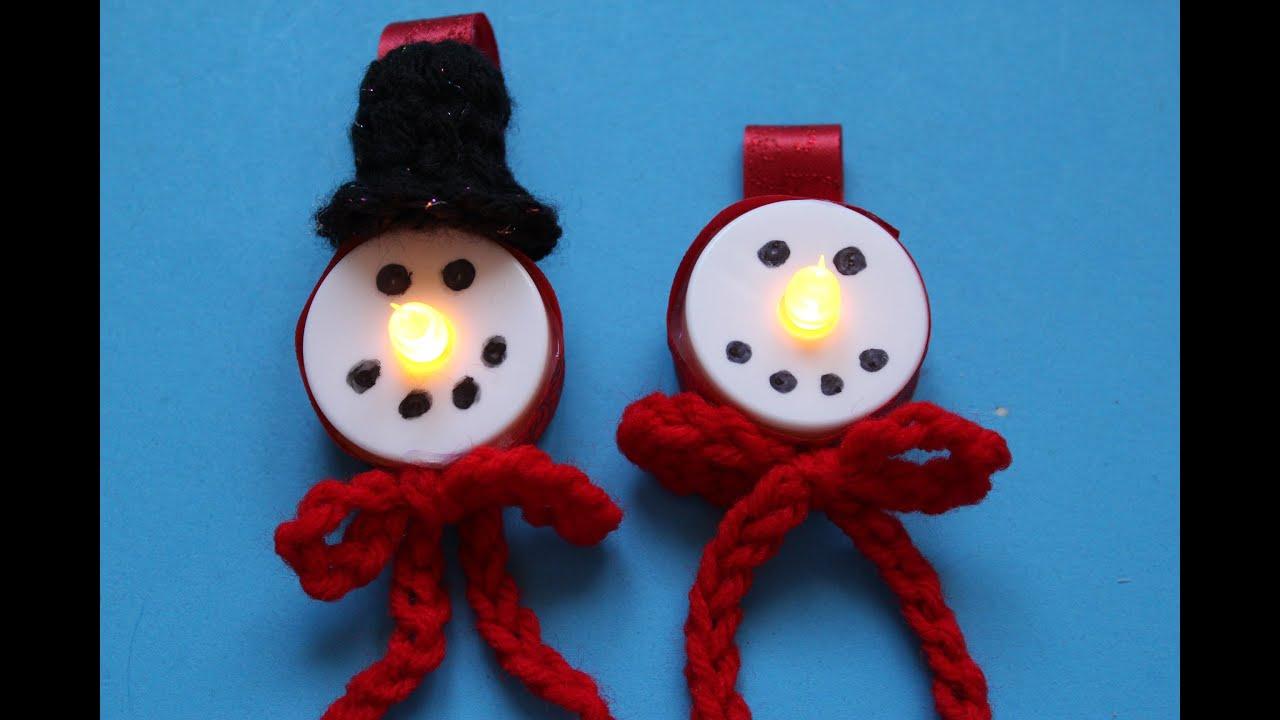 Snowman LED Tea... Xmas Ornaments To Make