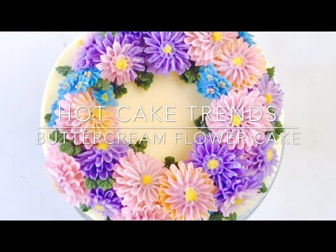HOT CAKE TRENDS 2016! Buttercream Aster Flower Wreath cake - How to make by Olga Zaytseva