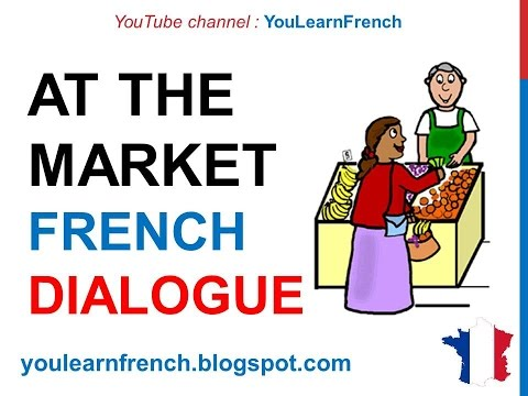 French Lesson 66 - Shopping - Buying food at the market - Dialogue Conversation + English Subtitles