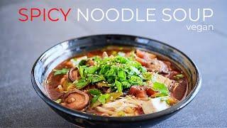 VEGAN SPICY NOODLE SOUP RECIPE | EASY DINNER IDEA!