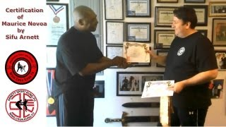 Maurice Ruiz of Melbourne recieving his certification from Sifu Anthony Arnett in Wing Chun Kung Fu