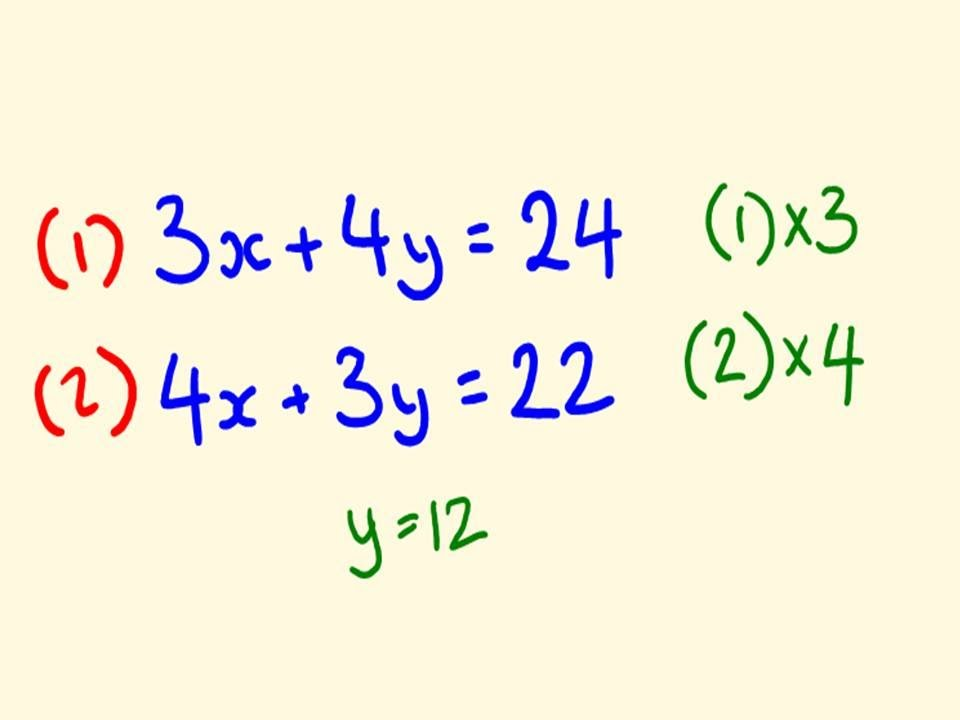 Examples of Math Equations Simultaneous Equations Math