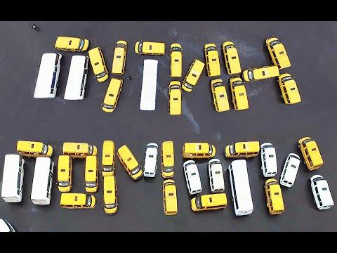Шоферы Старого Оскола составили из автобусов обращение «ПУТИН, ПОМОГИ!» и сняли его с дрона