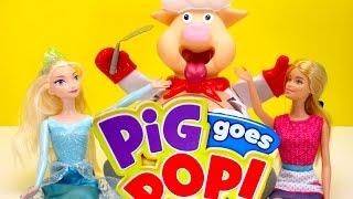 Pop the PIG funny Challenge  - Barbie Girl vs Disney Frozen Elsa game CHALLENGE