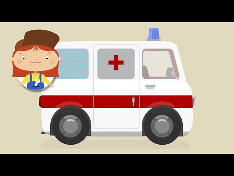 Kids' Cartoon. Ambulances and other emergency vehicles.