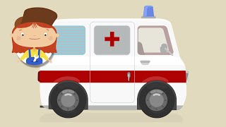 Kids Cartoon. Ambulance car and emergency vehicles.