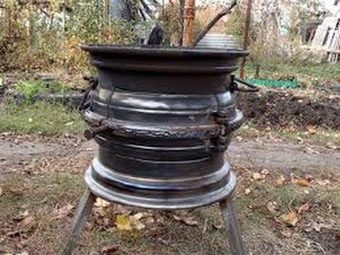 Как сделать из колесных дисков печь