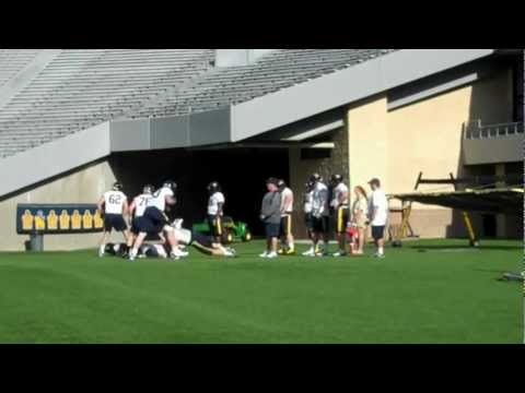 Offensive line drills at spring practice