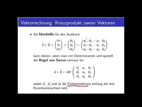 Vektorrechnung Teil 12: Kreuzprodukt von Vektoren