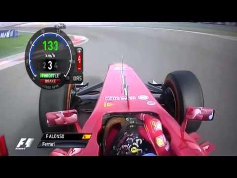 F1 2013 - Bahrain Fernando Alonso 3 Laps Onboard + Sergio Perez Fight