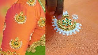 zardosi work on blouse | aari work for beginners | aari work blouse designs | hand embroidery | 203