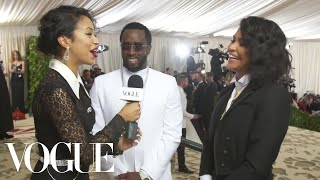 Diddy and Cassie on Their Angelic Met Gala Outfits | Met Gala 2018 With Liza Koshy | Vogue