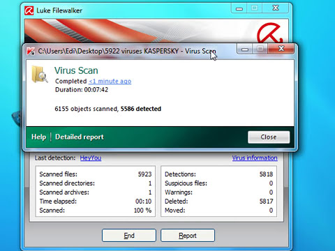 AVIRA vs KASPERSKY.   5922 viruses scan test.    Windows 7.