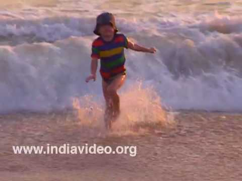 Toddlers in the Kovalam surf