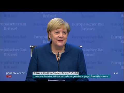 Bundeskanzlerin Angela Merkel zum Abschluss des EU-Gipfels am 18.10.19