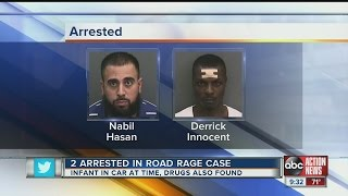 2 arrested in road rage case, infant in car at time, drugs also found