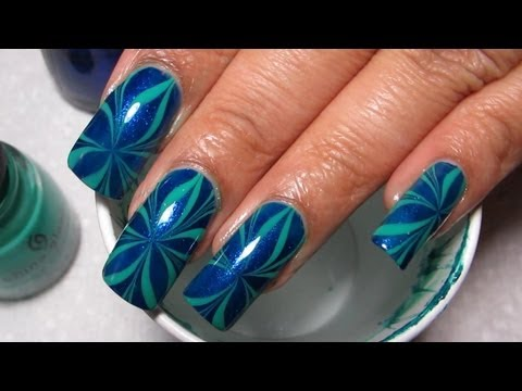 Blue & Green Star Water Marble Nail Art Tutorial (Water Marble March #11)
