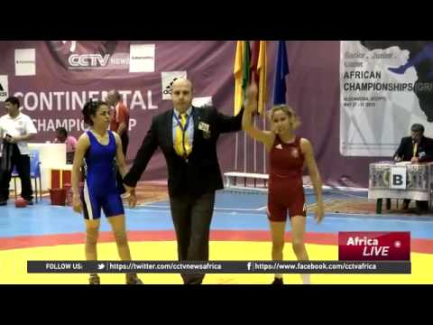 3594 sport CCTV Afrique Egypt hosts the biggest African wrestling event in the year
