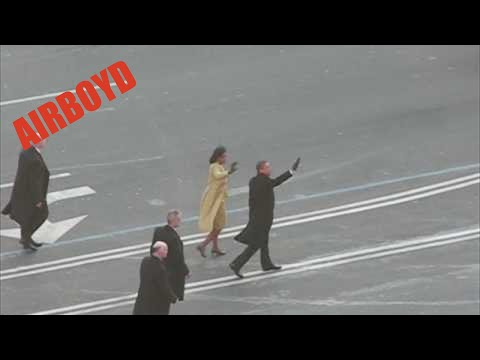 President Barack Obama Walking Inauguration Parade to the White House at Pennsylvania Avenue and 7th