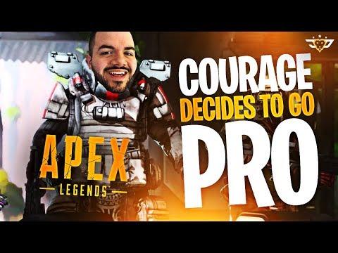 COURAGE DECIDES TO GO PRO?! APEX LEGENDS BATTLE ROYALE LAUNCH DAY! #ApexPartner