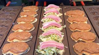 street food japan- taiyaki, okonomi taiyaki. 鯛焼き お好み鯛焼き