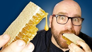 RAW HONEYCOMB Taste Test - Eating the HONEY and BEESWAX