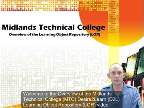 Overview of the Midlands Technical College Desire2Learn Learning Object Repository