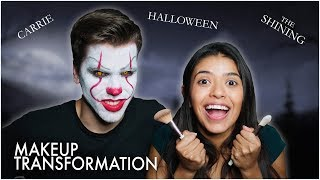 RECREATING MOVIE POSTERS with Halloween Make-Up!!
