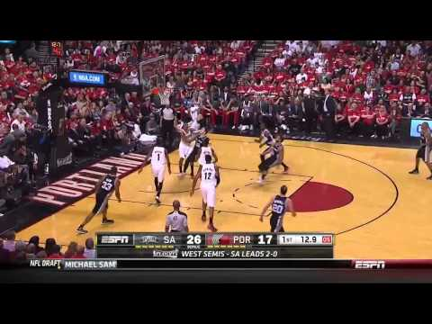 NBA, playoff 2014, Spurs vs. Trail Blazers, Round 2, Game 3, Move 10, Marco Belinelli, 2 pointer
