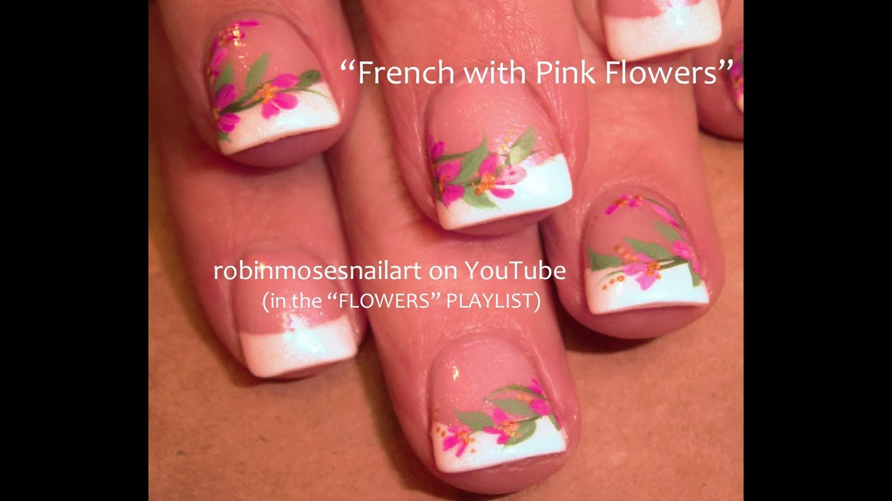 Pink And White Nail Tip Designs White Tips Pink Flowers