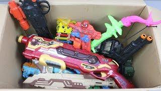 NERF VS XSHOT NERF WAR LASER GUN - SPIDERMAN - BOAT RC BATTLE SHOT NERF WAR AK 47 SANTA Box of Toys