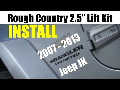 """Jeep JK Wrangler Rough Country 2.5"""" Lift Kit Installation - 2007-2013 - Tutorial and Review"""