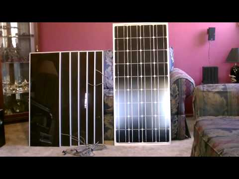 Solar Panel Comparison - (100w Monocrystalline vs. 45w harbor freight set) - with battery info.