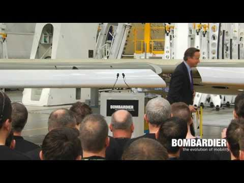 UK Prime Minister, David Cameron, at the New Bombardier Wing Facility