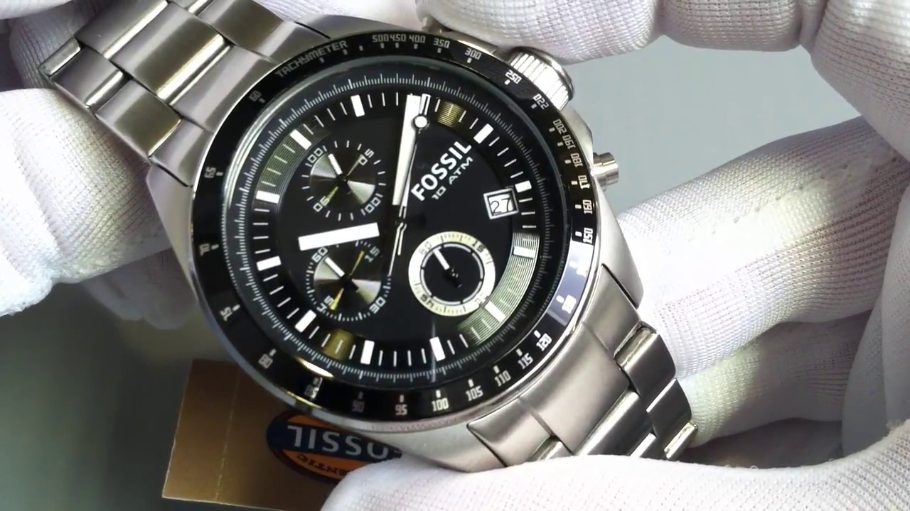 Men 39 s fossil decker chronograph steel watch ch2600 youtube