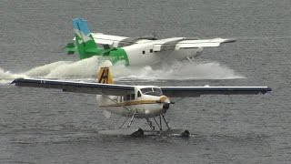 Seaplanes landing and takeoff in Vancouver Harbor CYHC airport