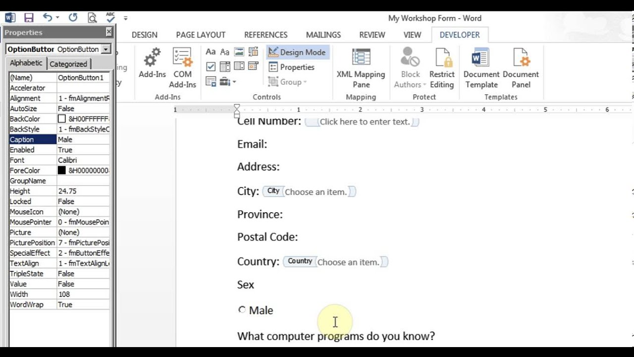 Please Word Forms Microsoft Word Create Form
