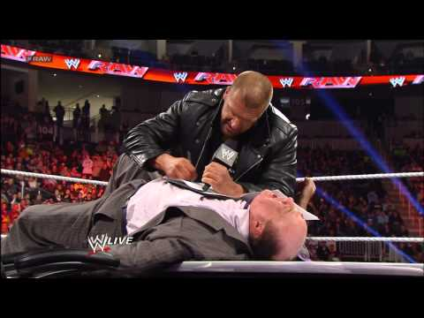 The WrestleMania contract signing between Triple H and Brock Lesnar ends in chaos: Raw. March 18. 20