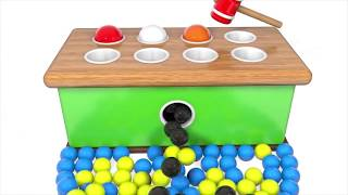 Learn Colors with Wooden Educational Toys Hammer and Ball Colors Video for Children and Kids