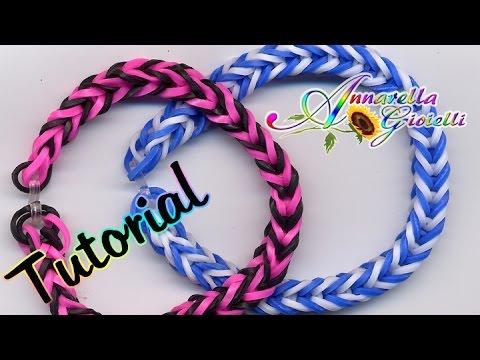 Tutorial Braccialetti con elastici SENZA telaio   Rainbow loom bracelets ITALIANO