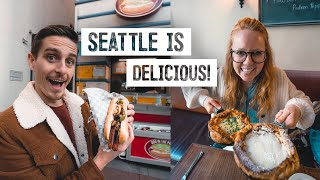 Seattle STREET FOOD & MARKET TOUR! Dutch Baby, Seattle Dog + Fremont Market!